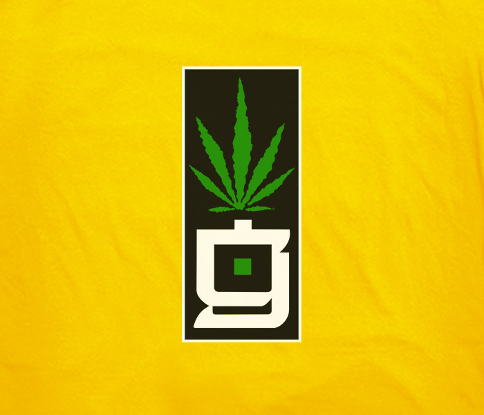 greensbrand G block design yellow t-shirt closeup